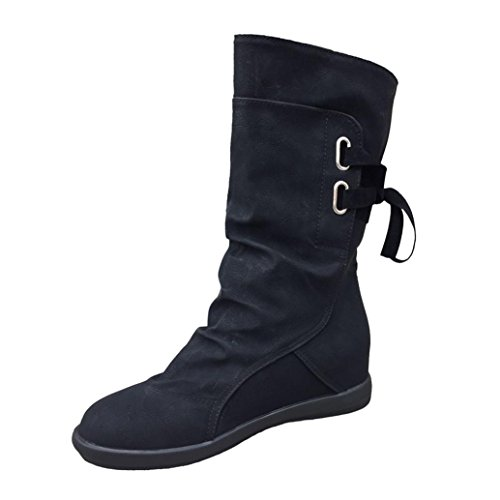 - Mid-Calf Low Heel Boots, Anxinke Women's Autumn Winter Artificial Leather Slip-on Flat Boots with Lace (Black, US:6 Foot Length:9.1-9.3