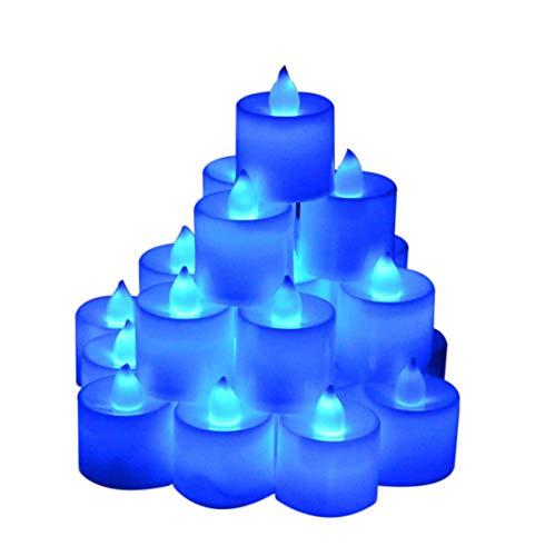 Samyo Set of 24 Battery Flameless & Smokeless LED Tealight Candles - Blue Candlelight