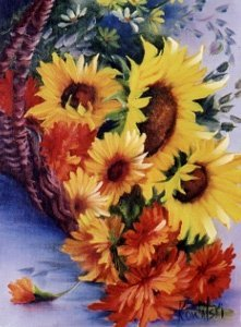 Bob Ross Floral How-to Packet Basket of Sunflowers by BobRoss