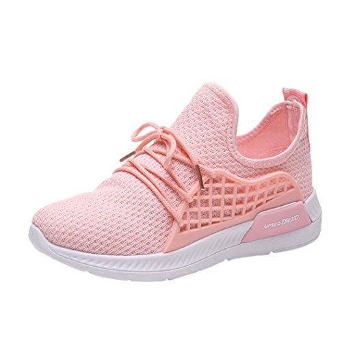 Sneaker Damen LHWY Frauen Stretch Stoff Volltonfarbe Kreuz Gebunden Freizeitschuhe Laufschuhe Gym Schuhe Teens Mädchen Rosa