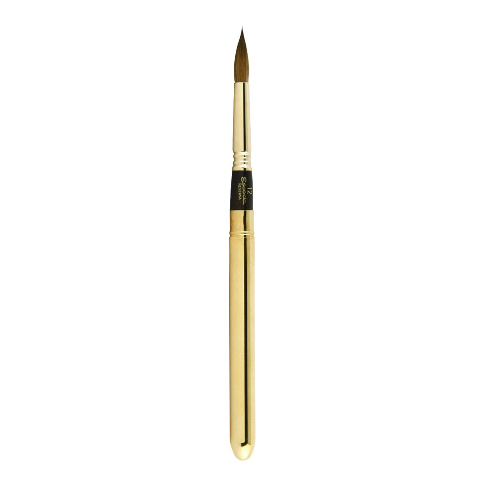 Escoda Reserva Series 1214 Kolinsky Sable for Watercolor Brush, Travel Brush, Round Pointed, Size 12