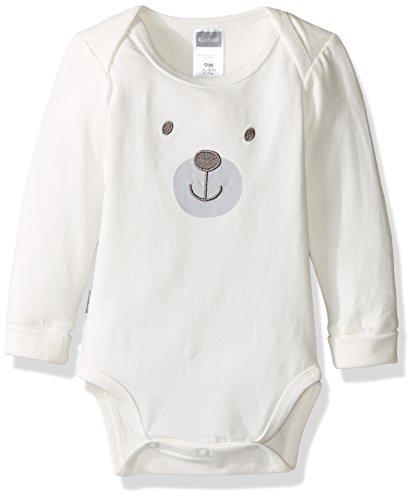 Kushies Baby Mix N Match Long Sleeves Bodysuit, Ecru/Bear, 06M