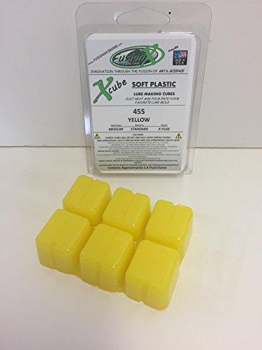 FUSION X FISHING - Xcube Soft Plastic Plastisol Fishing Lure Making Cubes - Single Pack 2.8 fl oz - 225 Colors - Make your own soft plastic rubber fishing lures. (455 - YELLOW)