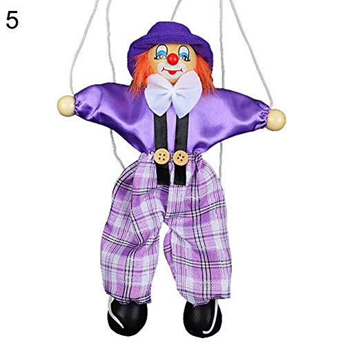 HsgbvictS Toys for All Ages Kids Pull String Clown Puppet Wooden Marionette Handcraft Toy Joint Move Doll Colorful, Pull String Design, Kids Toy - Purple