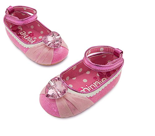 [Disney Store Minnie Mouse Baby Dress Up Costume Shoes w/ Heart Jewel Size 0-6 Months] (Toddler Minnie Mouse Costume Pattern)