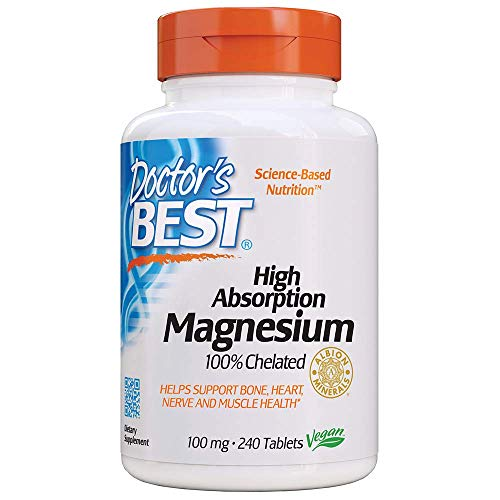 - Doctor's Best High Absorption Magnesium Glycinate Lysinate, 100% Chelated, TRACCS, Not Buffered, Headaches, Sleep, Energy, Leg Cramps, Non-GMO, Vegan, Gluten Free, Soy Free, 100 mg, 240 Tablets