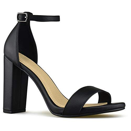 Premier Standard - Women's Single Band Chunky Heel Sandal with Ankle Strap, TPS10-00012 Black Pu Size 9
