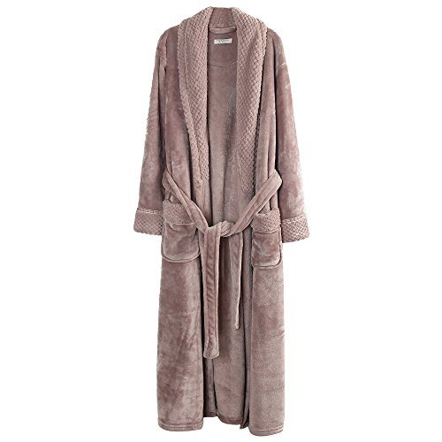 Richie House Women's Plush Soft Warm Fleece Bathrobe, Nude, RH1591-D-XL