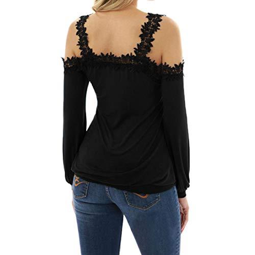 Tops Chic Dos avec Ouvertes Blouse Manches Lacets Bobycon Sixcup Shirt Noir Chemisiers T Femme Haut Floral Shirt Tw745qzCx