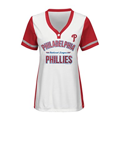 VF LSG MLB Philadelphia Phillies Women's Team Name Rugged Competitor Pull Over Color Block Jersey, Medium, White/Athletic Red