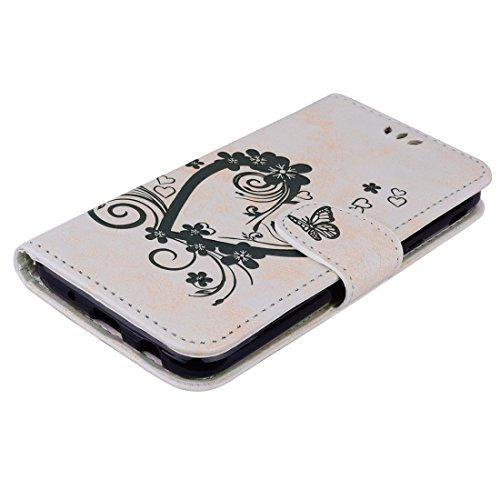 XIAOGUA Cases & Covers, Para Samsung Galaxy J5 (2017) / J530 (versión de la UE) Flores prensadas Butterfly Love Pattern Horizontal Funda de cuero con cremallera con soporte y ranuras para tarjetas & C White