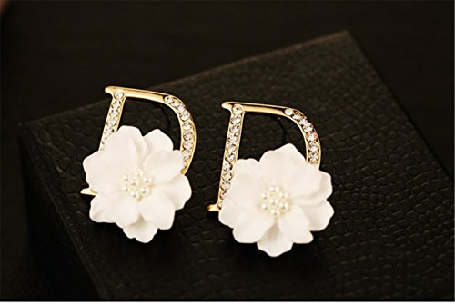 P.phoebus 18K Yellow Gold Plated Vintage White Flower Swarovski Crystal Studs Earrings Rhinestones Dangle Charms Hoops For Women Girls (1) ()