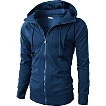 H2H Mens Casual Slim Fit Hoodie Zip-Up Long Sleeve Active Jersey Jackets