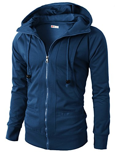H2H Mens Casual Fashion Comfortable Jersey Slim Fit Hoodie Zip-Up BLUE US M/Asia L - Two Dress Jersey Tone