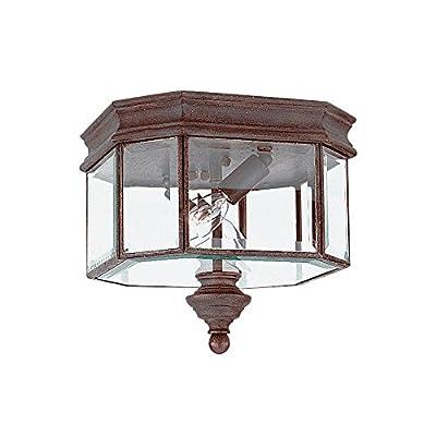 Sea Gull Lighting 8834-08 2-Light Flushmount Outdoor Flush Mount Light, Textured Rust Patina