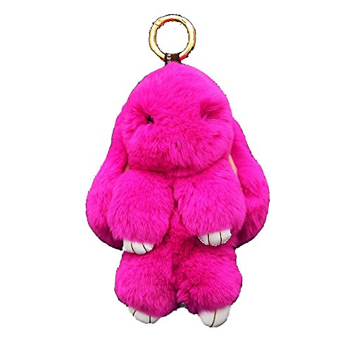 Cute Bunny Rex Rabbit Fur Phone Car Pendant Handbag Charm Key Chain Ring Pom (Hot - Pink Charm Bunny