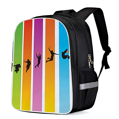 Unisex Durable School Backpack- Basketball Player Slam Dunk and Stripe Pattern, Lightweight Oxford Fabric School Bags with Reflective Strip Daypack Laptop Bags ()