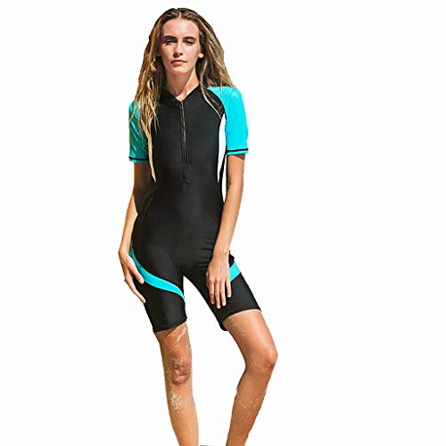 Women Shorty Wetsuit Stretch Diving Suit Snorkeling Swimsuit Surfing Jumpsuit for Snorkeling One Piece (Blue, XL)