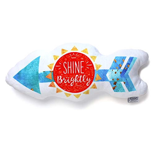 The BeLOVED Life by Mimi Tin Courage + Kindness Arrow Shine Brightly Easter Gift Kids Tween Girls Cute Soft Stuffed Decor Plush Cushion Pillow