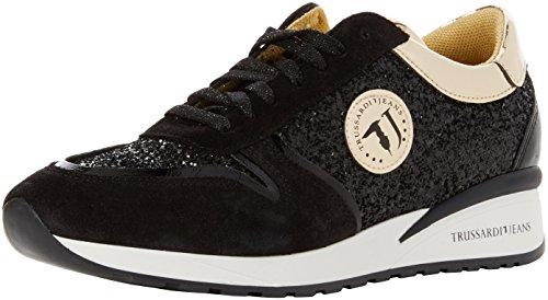 Trussardi Jeans 79a00086-9y099999, Zapatillas de Gimnasia Para Mujer Negro (Black/gold)