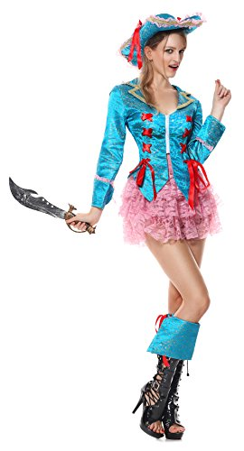 [Lusiya Women's Deluxe Pirate Plus Size Halloween Costume Blue-pink Large] (Plus Size Sexy Pirate Costumes)