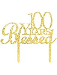 100 Years Blessed Cake Topper, Glitter Gold 100th Birthday / Wedding Anniversary Party Cake Topper Decoration (100 Years Blessed)