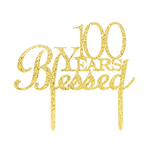 100 Years Blessed Cake Topper, Glitter Gold 100th Birthday / Wedding Anniversary Party Cake Topper Decoration (100 Years Blessed) by INNORU