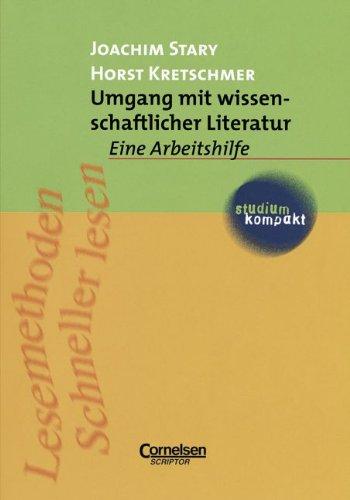 studium kompakt - Pädagogik: Umgang mit wissenschaftlicher Literatur: Eine Arbeitshilfe. Studienbuch Taschenbuch – September 1994 Horst Kretschmer Joachim Stary Cornelsen Lehrbuch 3589210486