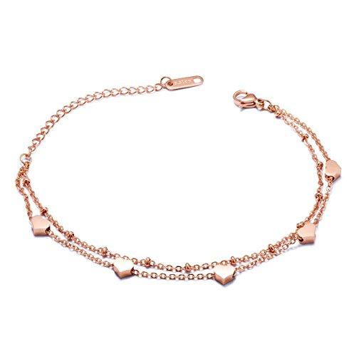 Rose Gold Bracelet Bangle for Women Heart Layered Adjustable Stainless Steel (Light Link Heart Bracelet)
