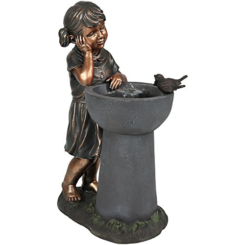Sunnydaze Little Girl Admiring Water Spout Outdoor Water Fountain, 28 Inch Tall, Includes Electric Pump
