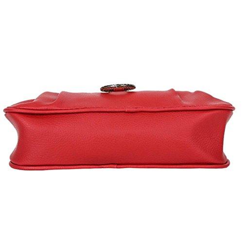 De Rojo Bandolera Bolsa Casual QUICKLYLY de Hombro de Cuero Fiesta Bolsos Mano Mujer PU 4EOqwPE