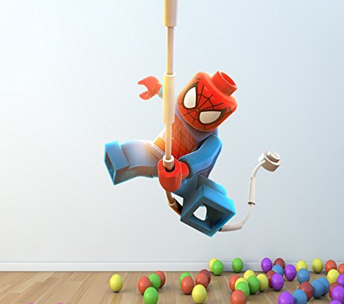 LEGO SPIDERMAN FULL COLOUR WALL STICKER   GIRLS BOYS BEDROOM C214 Size:  Large