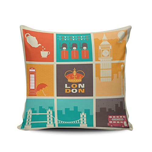 Double Cushion Booth - WULIHUA Decorative Throw Pillow Covers London Bridge?Telephone Booth Big Ben Fine Zipper Pillowcases Throw Pillow Cushion Covers for Sofa Double Sides Printed Square 16x16 Inches