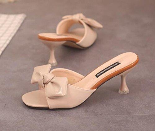 Xue Xue Xue Qiqi Court Schuhe Cool und stylish Girl tragen Sie eine Schleife binden dünn und flach high-heeled Hausschuhe e86bcb