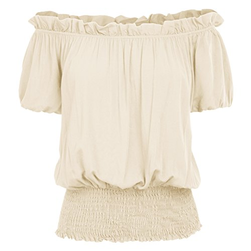 Women's Short Sleeve Ruffle Smocked Off Shoulder Boho Top KK1038-4 S kaki]()