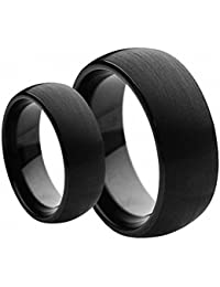his hers matching set 6mm 8mm black brushed dome tungsten carbide wedding band set - Tungsten Wedding Ring Sets