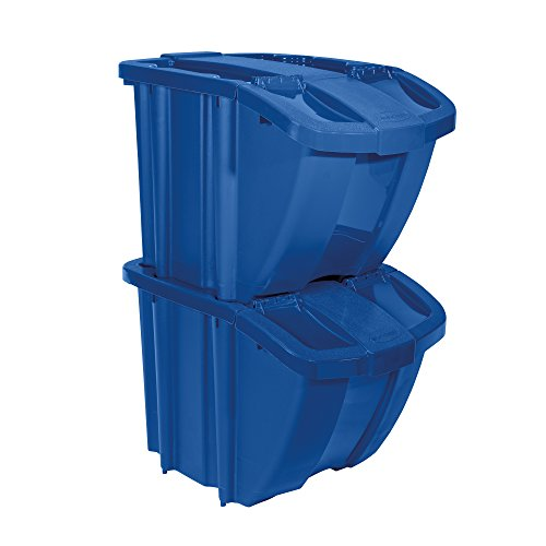 Storage Suncast Bins - Suncast Recycle Bin Kit - Stackable Organizer Stores Recyclables, Tools and Toys - Storage Bin with Front Flap Ideal for Dry Storage - Blue