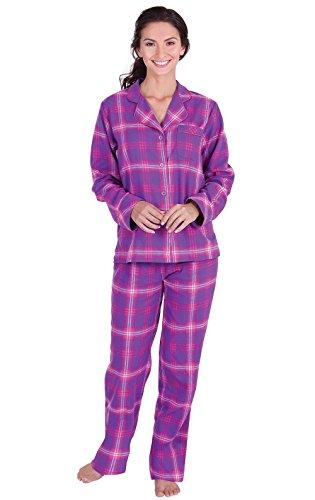 PajamaGram Pajamas for Women Plaid - Flannel Pajamas Women, Raspberry, XL, 16