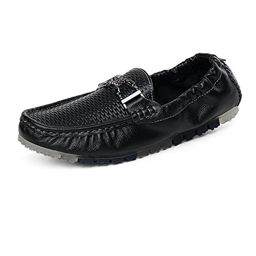 y Superior con elástico Meimei decoración Holgazanes Negro de shoes de Hombres Metal Color tamaño 43 Penny Barco EU detrás Conducción Mocasines los Hueco de Z8qZP