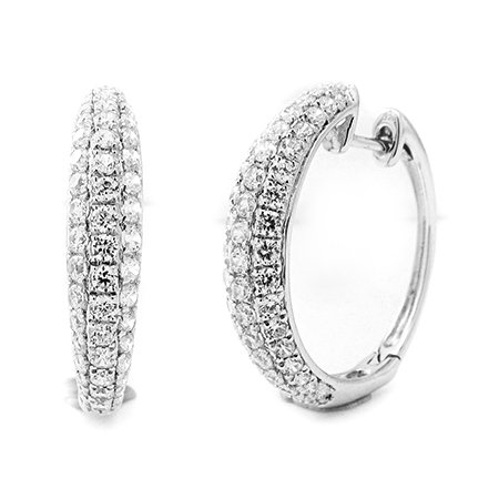 Boucle d'oreille diamants huggies 1.20 ct tw rond coupé or blanc 9K