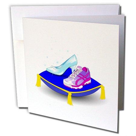3dRose Greeting Cards, Running Shoe and Princess Glass Slipper High Heel On Pillow. Girl Woman Runner Run Track Race Racing, Set of 6 (gc_161510_1)