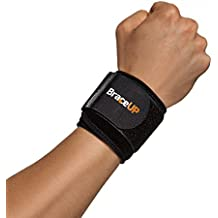 BraceUP® Wrist Compression Strap and Support, One Size Adjustable (Black),...