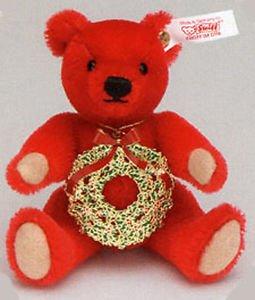 (Steiff USA Holly Berry Teddy Bear Ornament Mohair 4.72 inches 12cm)