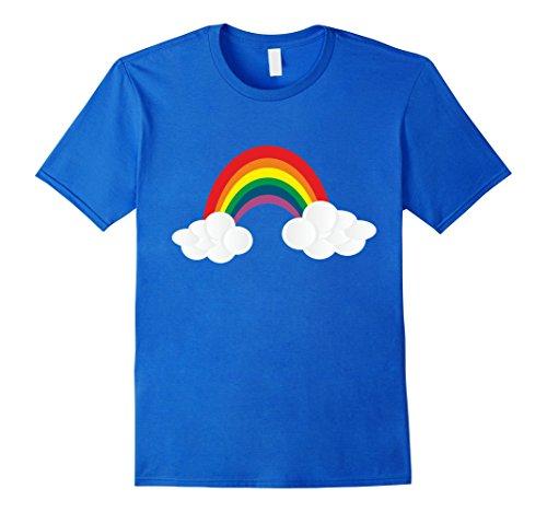 Mens Rainbow Costume T-Shirt Rain Cloud Thunder Sunny Days Large Royal Blue
