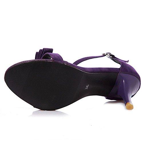 Shoes COOLCEPT Strap Purple 5CM Heel Toe with Heels Open Bow Ankle 8 Women Sandals Kitten qYqrwza