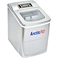 PORTABLE DIGITAL ICE MAKER MACHINE by Arctic-Pro with Ice Scoop, First Ice in 8 Minutes, 26 Pounds Daily, Great for Kitchens, Tailgating, Bars, Parties, Small/Large Cubes, Silver, 11.5x8.7x12.5 Inches
