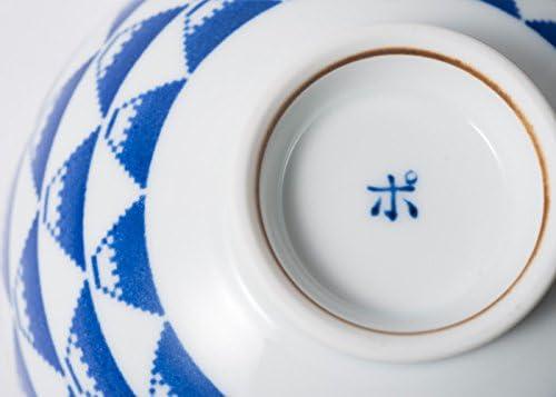 japan Import 12043 Saikai Touki Pottery Tyawan Japanease Rice Bowl Wave and Whale