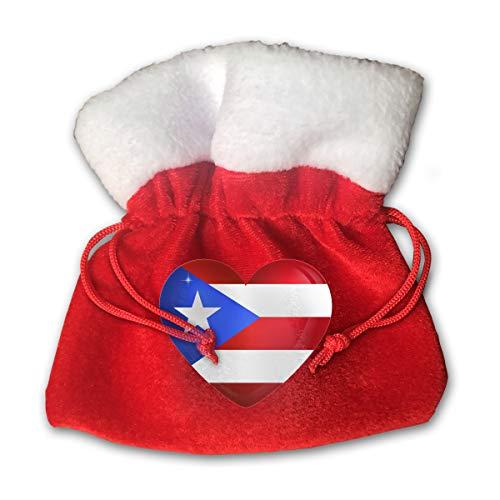 NRIEG Puerto Rico Large Heart Flag Christmas Candy Bags Santa Claus Gift Treat Sacks with Drawstring Xmas Stocking Ornaments Decor Handbag