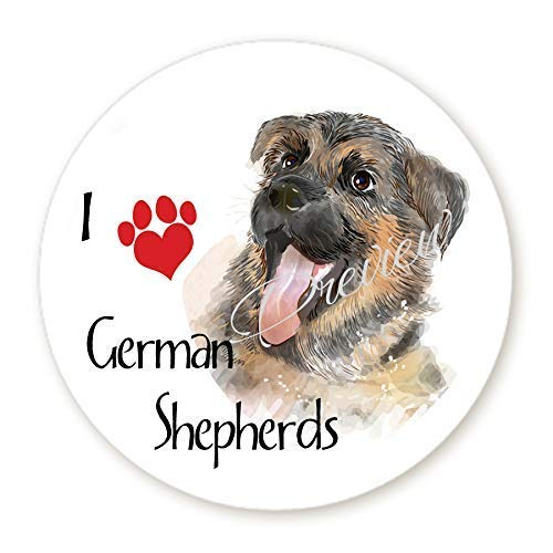 I Love German Shepherds Dog Stickers Round Labels - Scrapbook Stickers - Envelope Seals - Circle Favor Stickers - 6 Sizes (Angel Envelope Seals)