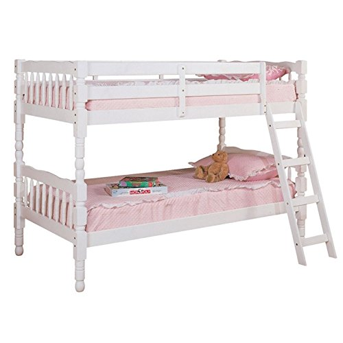 BOWERY HILL Twin Over Twin Bunk Bed in White